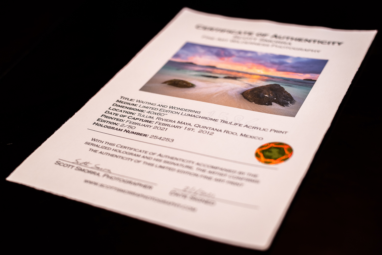 Certificates of Authenticity and Provenance for Fine Art Photography. Examples from Scott Smorra Photography.