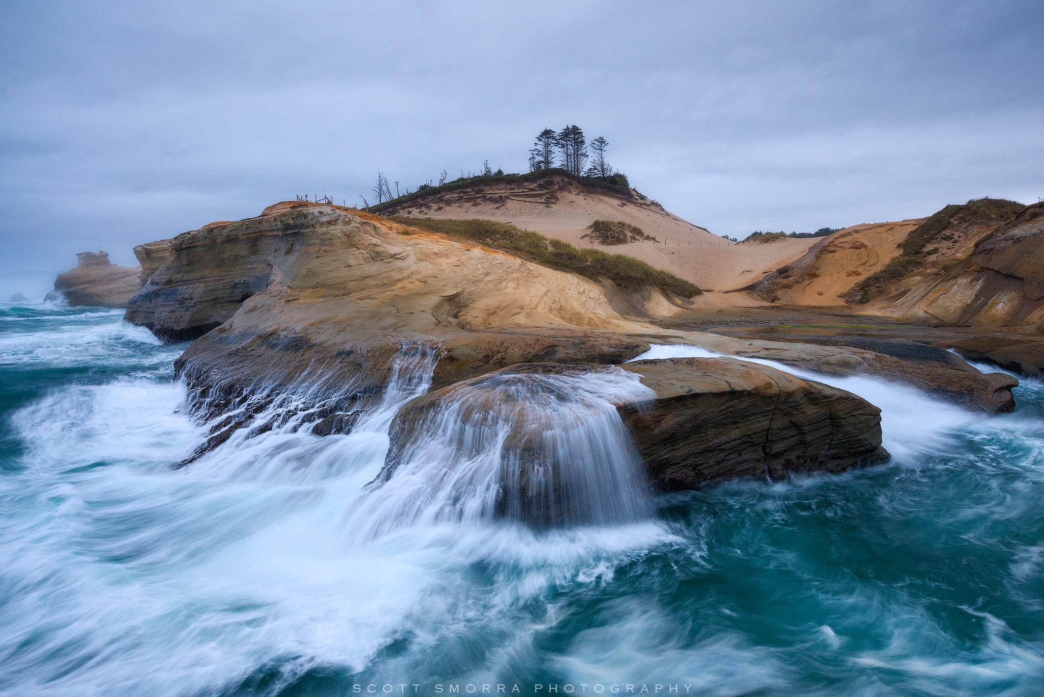 Oregon, Coast, Cape Kiwanda, ocean, wave, sandstone, photo