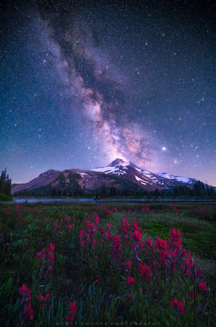 Fine Art Limited Edition of 100 - The Milky Way and millions of other stars rise above Mt Jefferson, an alpine lake and a field...