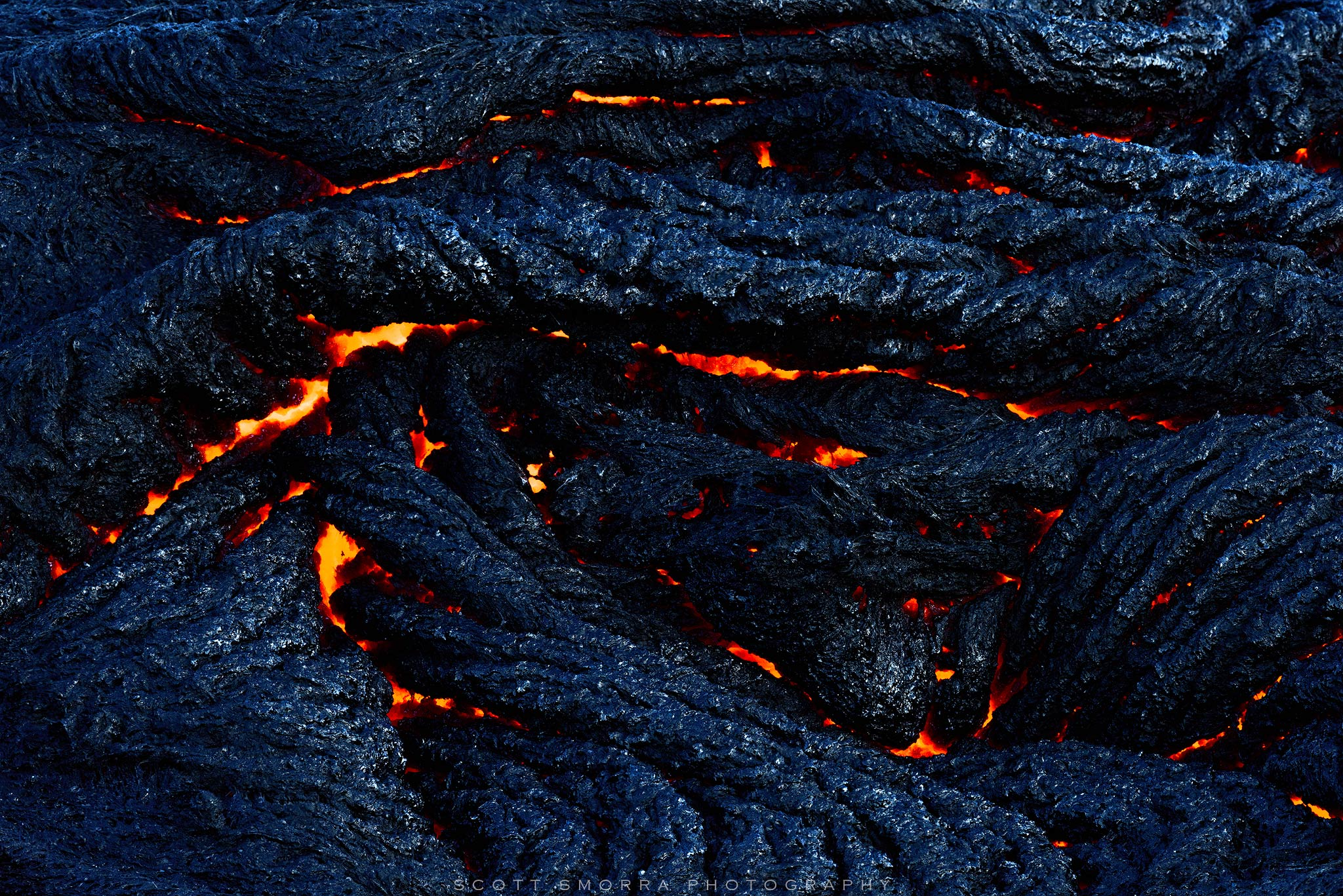 Fine Art Limited Edition of 50 - Glowing lava on the Kilauea 61G Lava Flow at Kalapana on the Big Island of Hawaii. The surface...