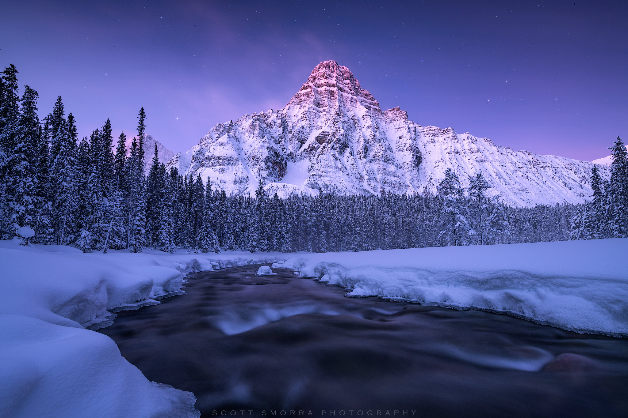 Canadian Rockies, Banff, National Park, Twilight, star, alpenglow, sunrise, winter, mountain, snow, photo