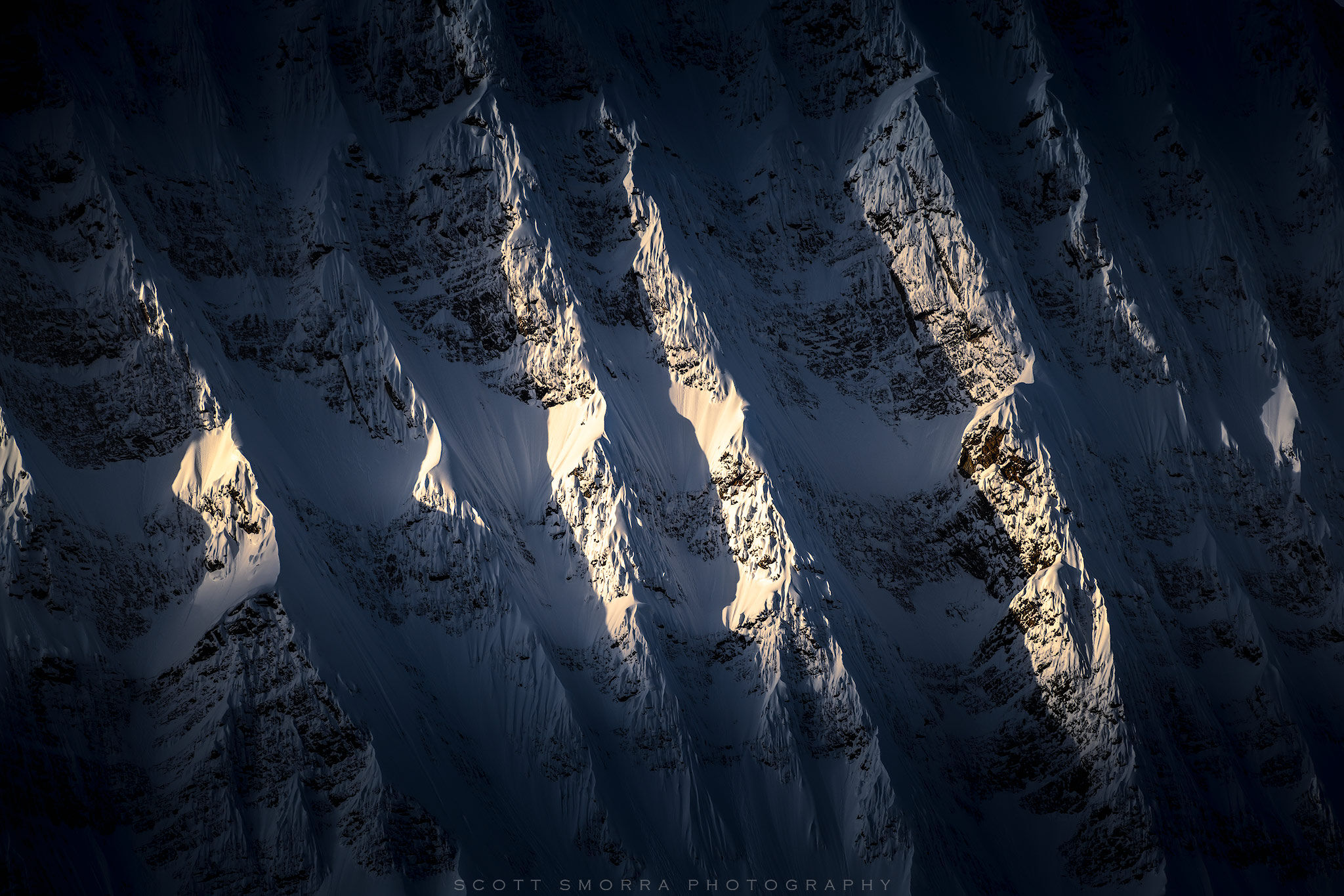 Fine Art Limited Edition of 50 - Early morning sunlight illuminates the fluted ridges on Mount Fryatt in Jasper National Park...