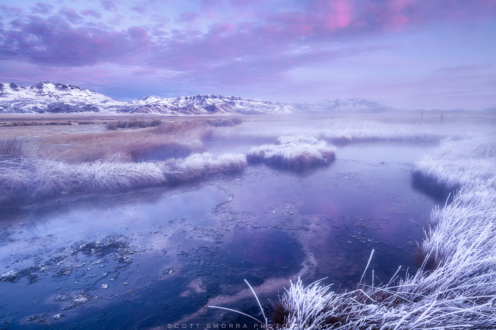 Fine Art Limited Edition of 100 - Early morning light at Borax Hot Springs in the Alvord Desert of Oregon.  A snow covered Steens...