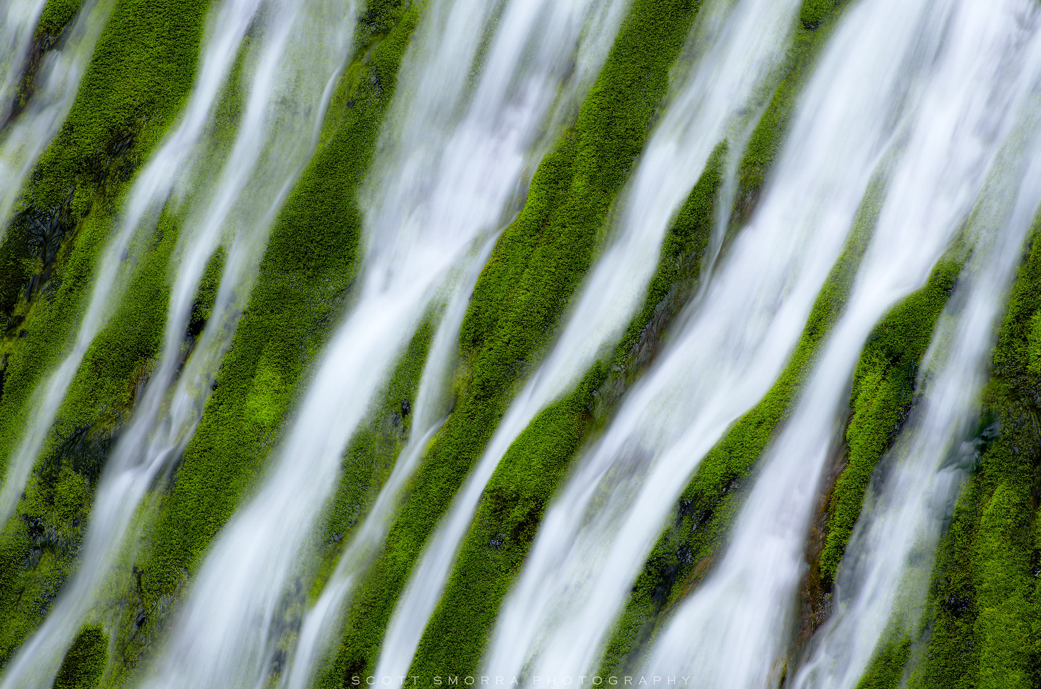 Fine Art Limited Edition of 100 - Waterfall and moss detail in the Columbia River Gorge of Washington. With a telephoto lens...