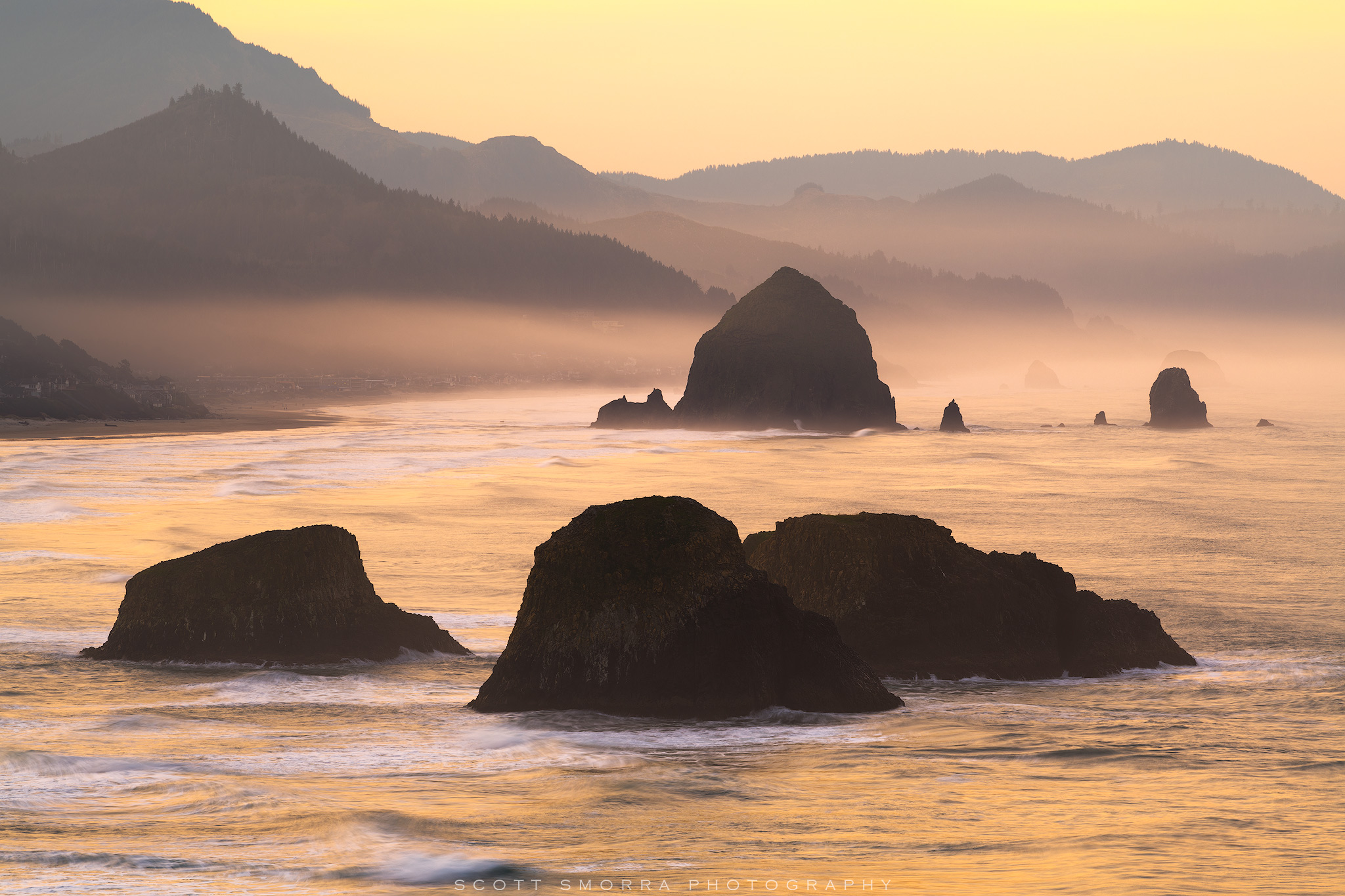 Oregon, Coast, Haystack Rock, Ecola State Park, Cannon Beach, sea, mist, rocks, sunrise, photo