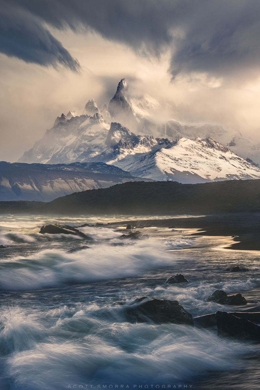 Fine Art Limited Edition of 100 - The peaks in Parque Nacional Los Glaciares tower above crashing waves in Patagonia, Argentina...