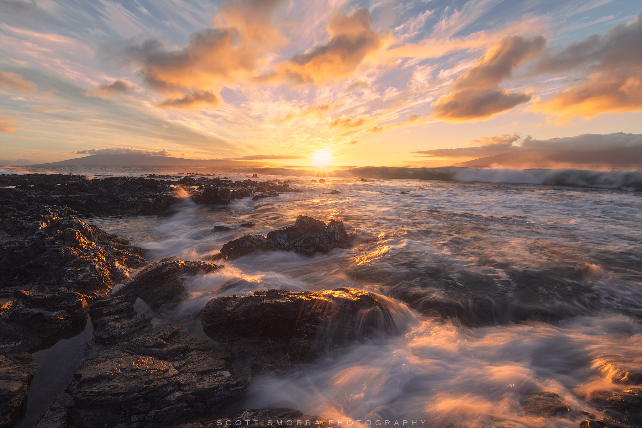 Fine Art Limited Edition of 100 - Warm sunset light and waves near Kapalua, Maui, Hawaii. The high and mid level clouds really...
