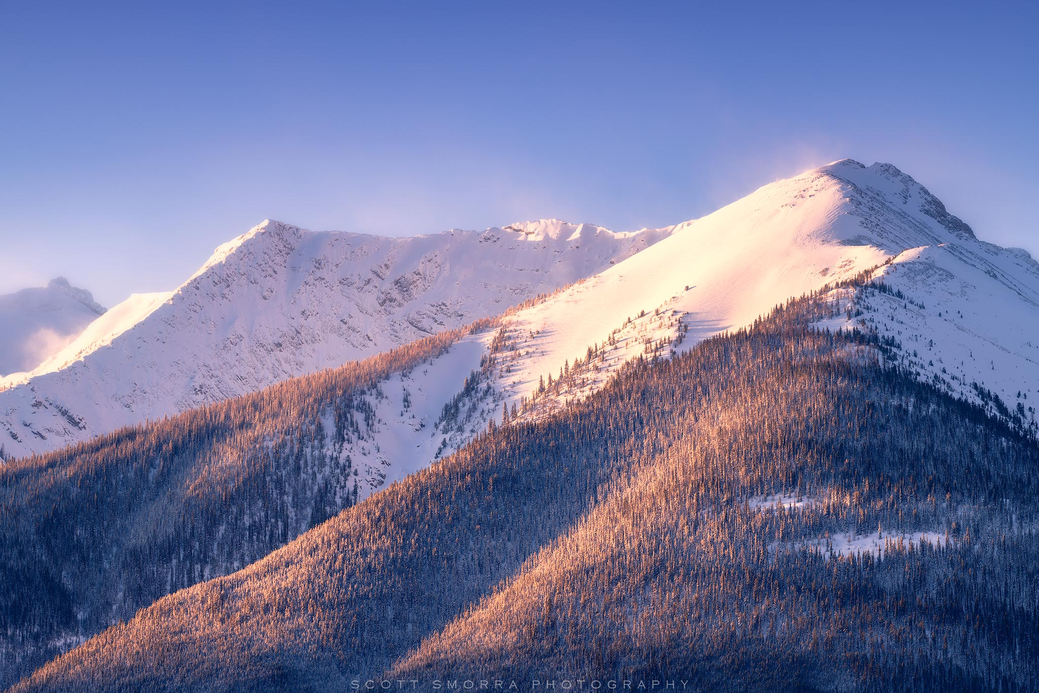 Fine Art Limited Edition of 50 - Early morning light illuminates the summits of several mountains in Banff National Park, Alberta...