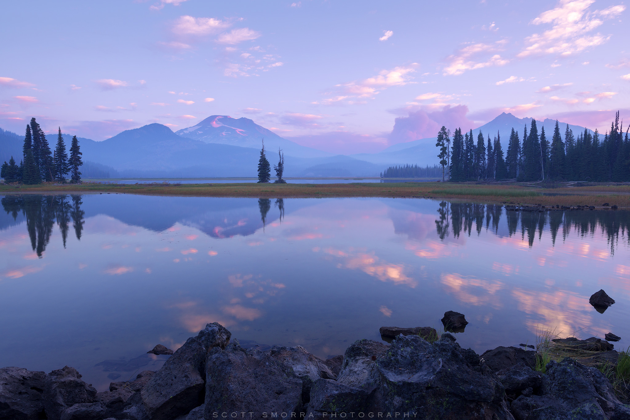 Fine Art Limited Edition of 50 - A late summer sunrise at Sparks Lake, Deschutes National Forest, Central Oregon Cascades. The...