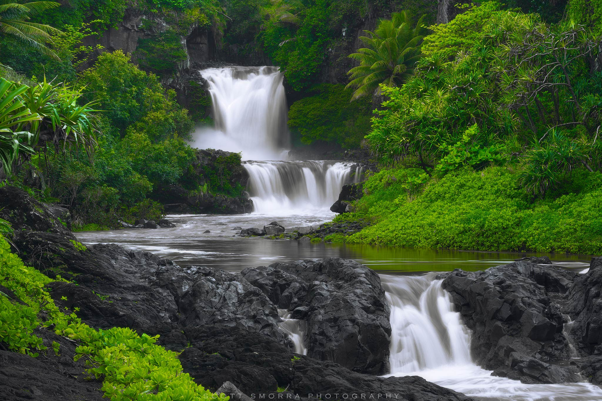 Fine Art Limited Edition of 100 - High water and lush tropical vegetation at the Pools of Oheo in Haleakala National Park, Maui...