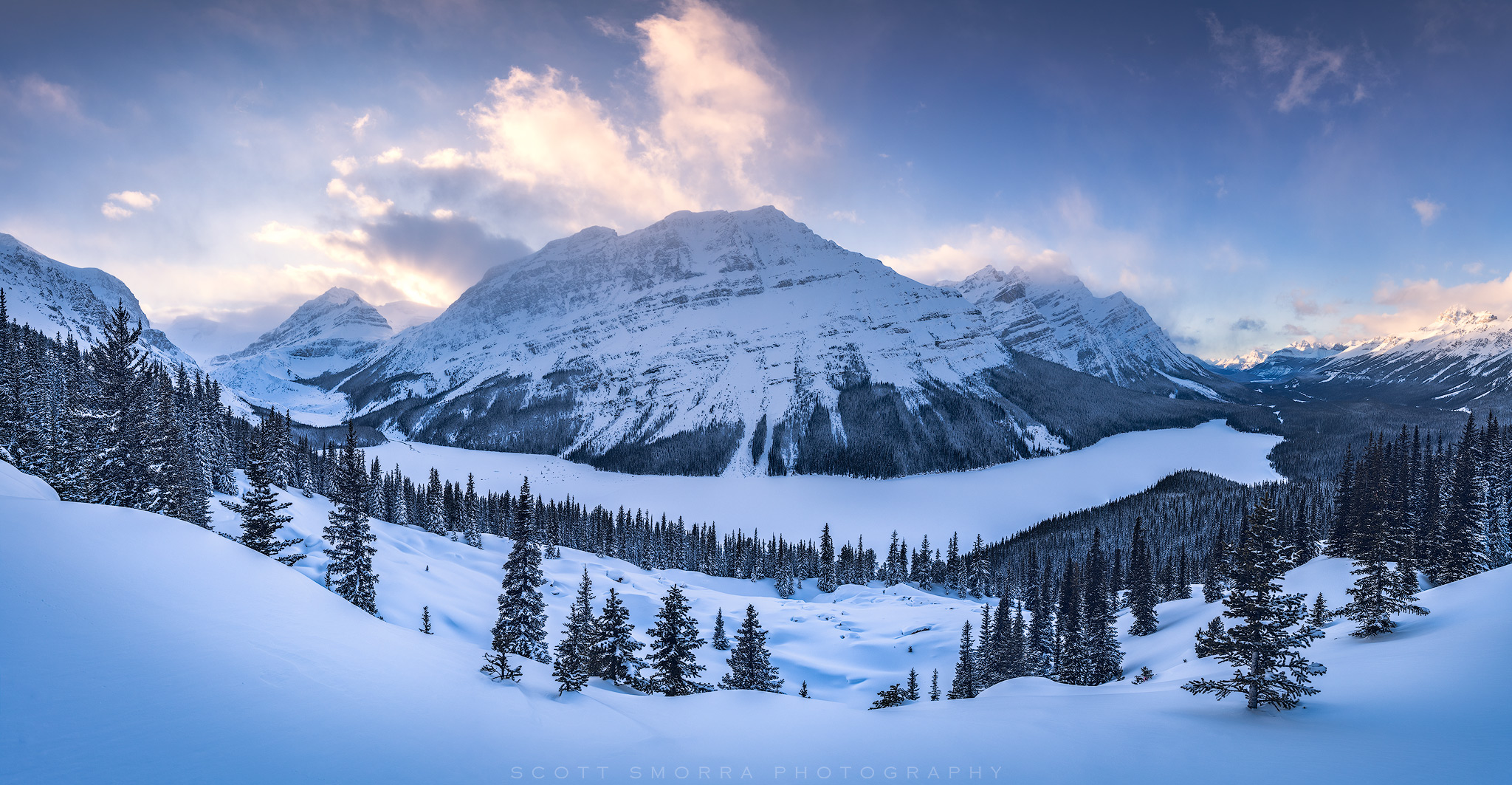 Banff, National Park, Alberta, Canada, Peyto Lake, Overlook, snow, panorama, sunset, photo