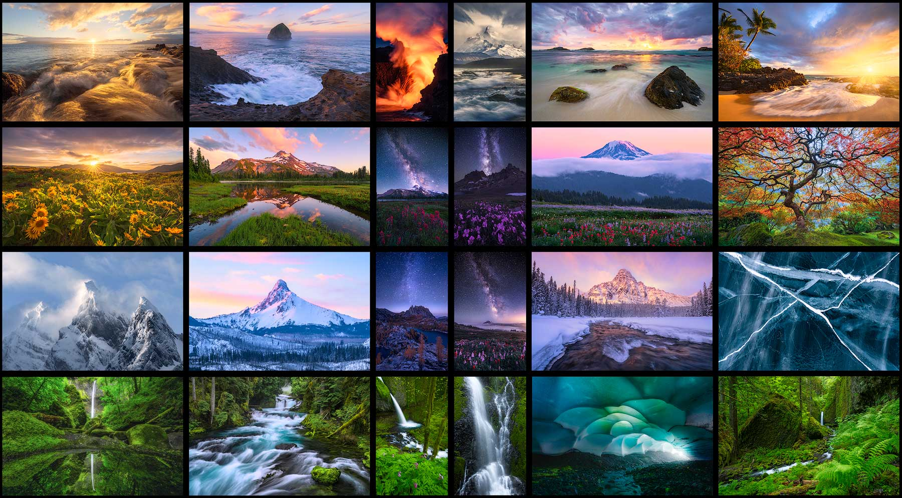 This photo is a collage of 24 of Scott Smorra Photography's best selling prints. It is shown on the homepage of the website.