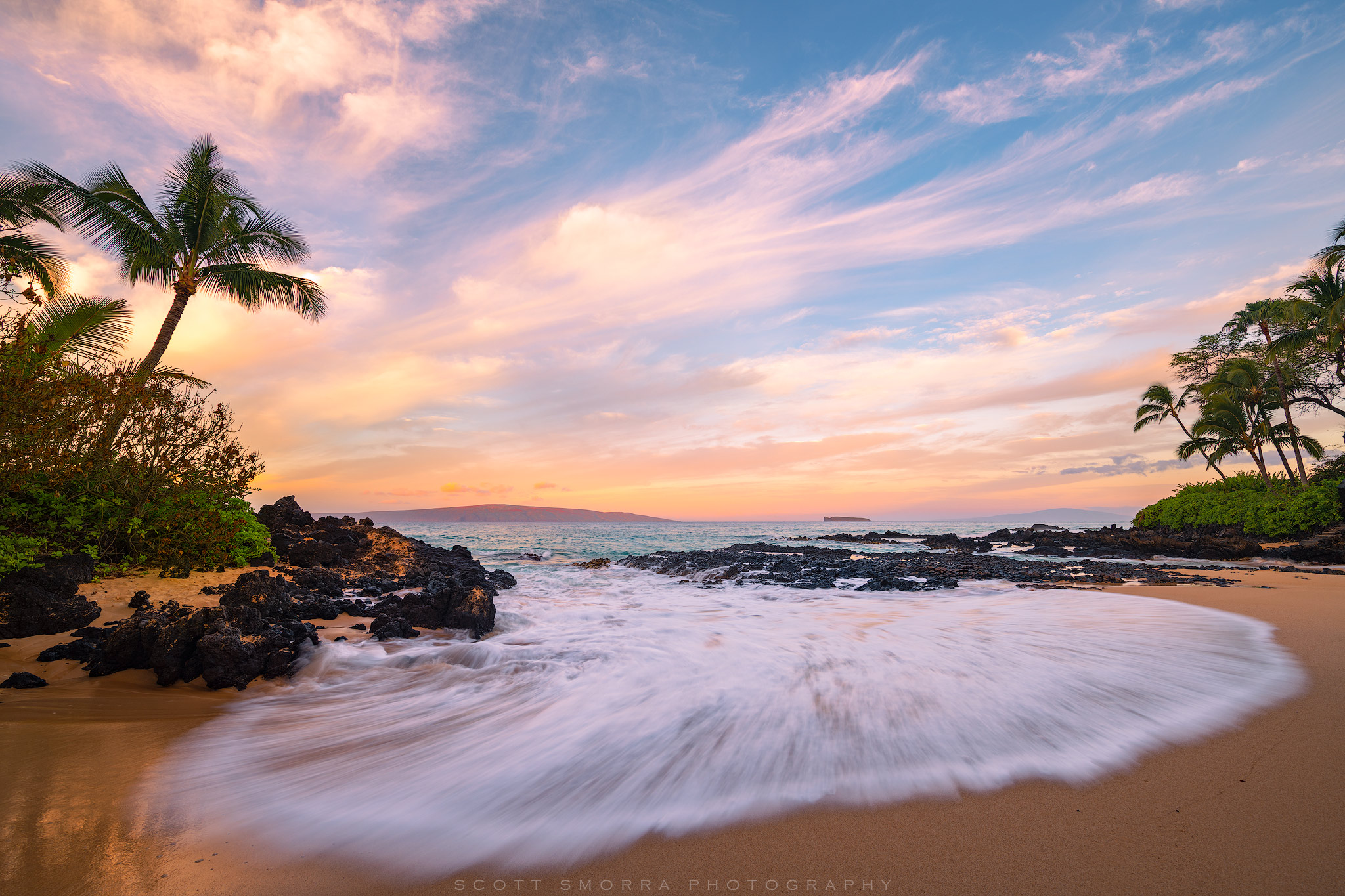 Fine Art Limited Edition of 100 - Sunrise light and coconut palm trees at a small cove on the island of Maui, Hawaii.  This was...