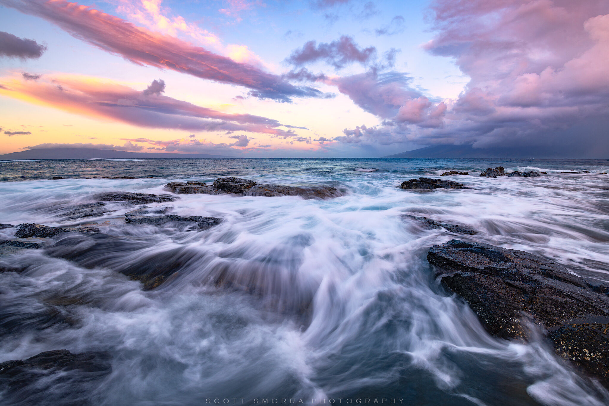 Fine Art Limited Edition of 100 - Sunrise light illuminates high clouds above crashing waves near Kapalua, Maui, Hawaii.  The...
