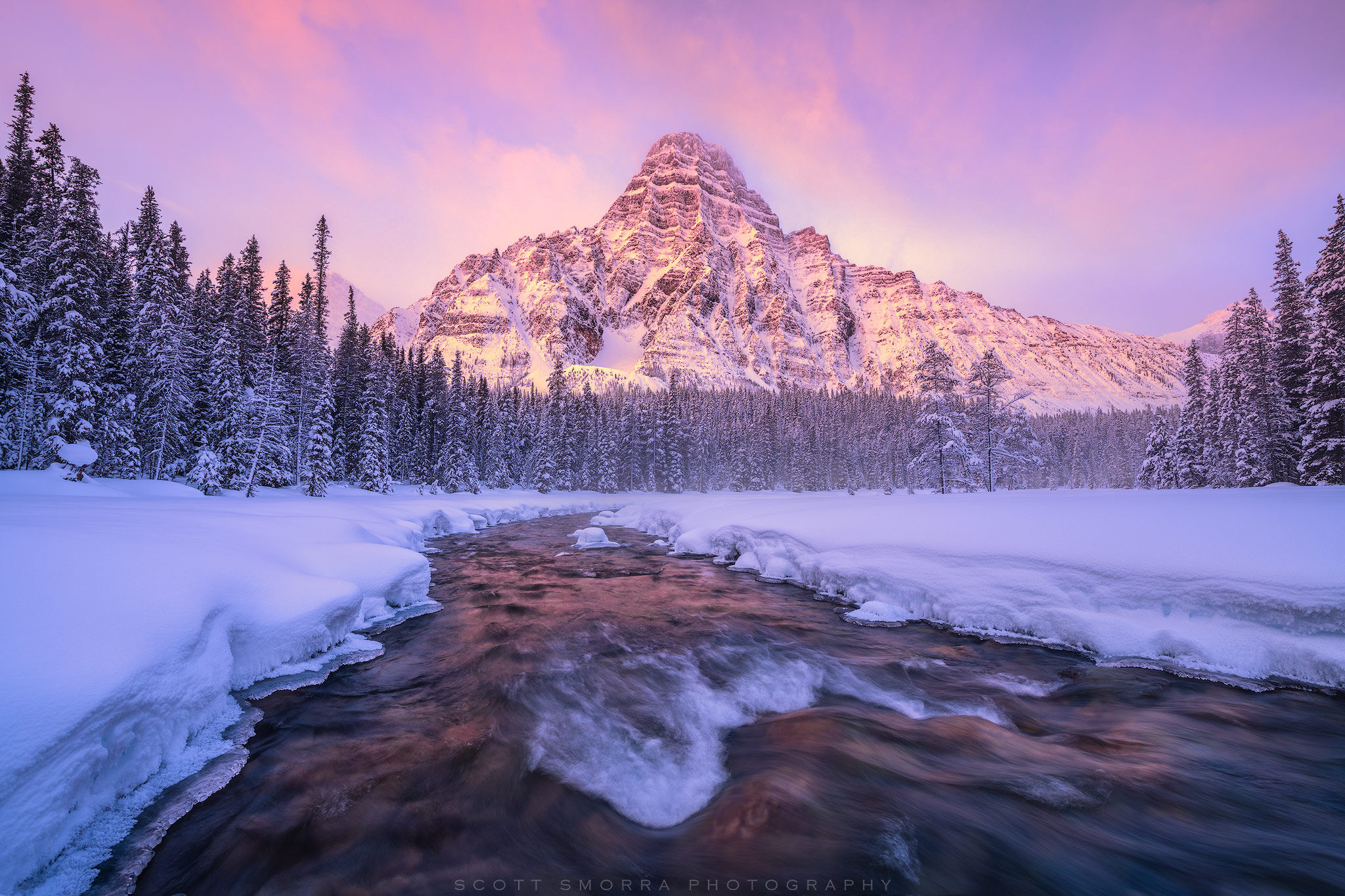 Banff, National Park, Canada, Mount Chephren, snow, stream, ice, sunrise, winter, mist, , photo