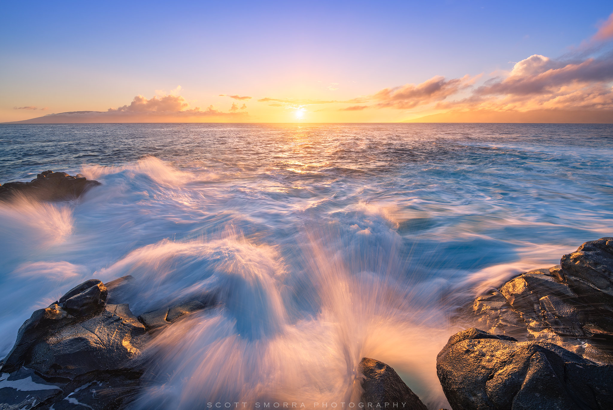 Hawaii, Maui, Kapalua, sunset, light, waves, ocean, swell, splash, Lanai, Molokai,, photo
