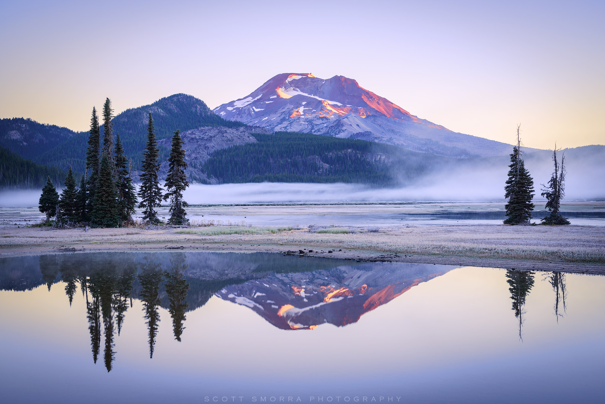 Fine Art Limited Edition of 100 - A frosty early autumn sunrise at Sparks Lake, Deschutes National Forest, Central Oregon Cascades...