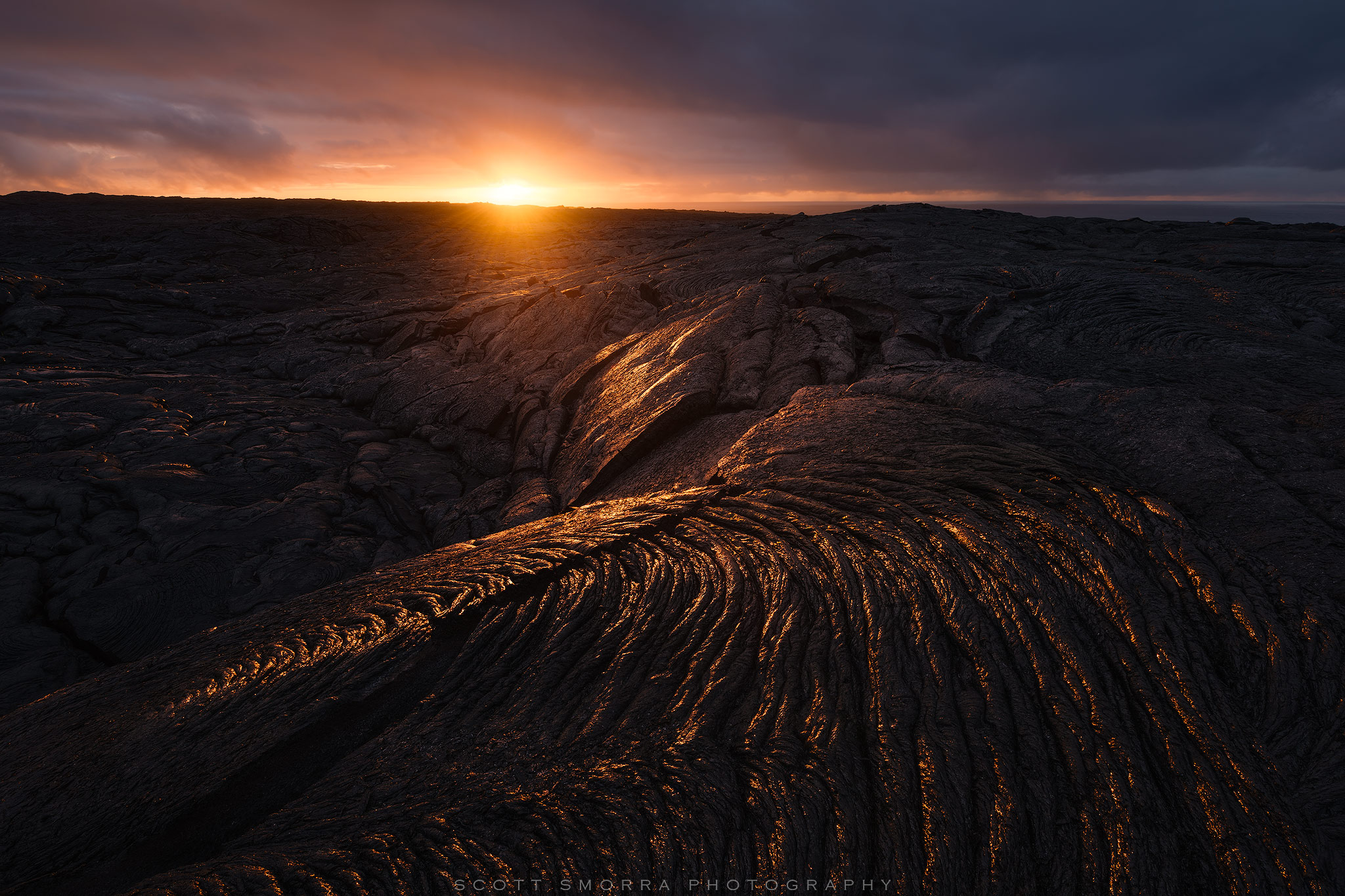 Fine Art Limited Edition of 50 - Sunrise light reflecting off a swirling lava pattern on the Kilauea 61G Lava Flow on the Big...