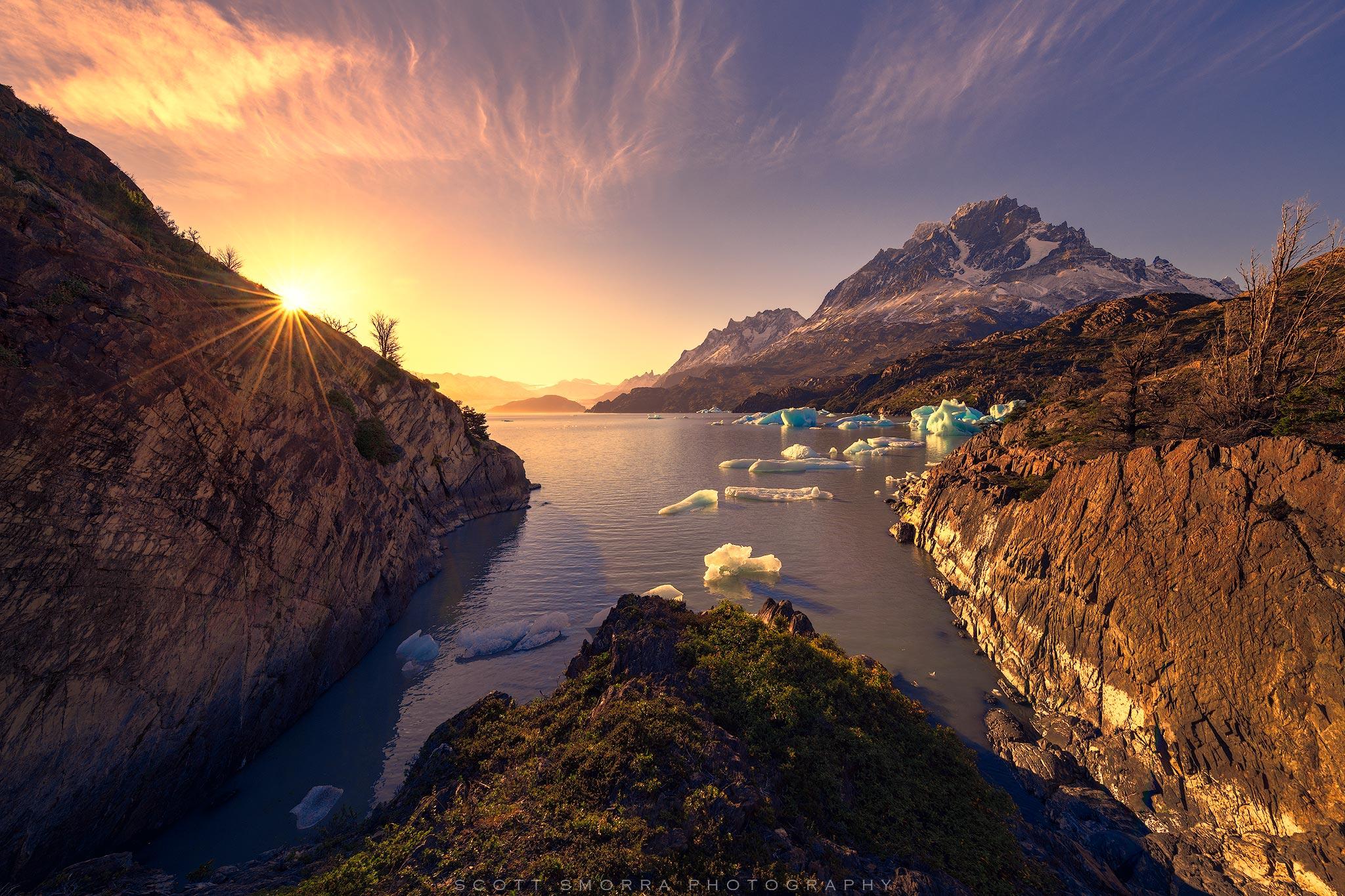 Patagonia, Chile, Parque Nacional Torres del Paine, iceberg, bay, sunset, photo